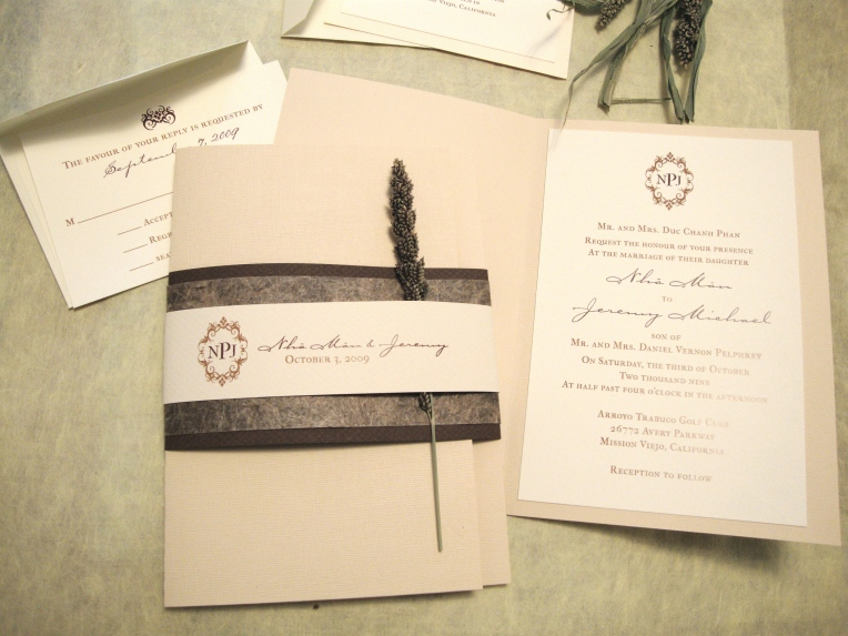 booklet wedding invitation with monogram belly band
