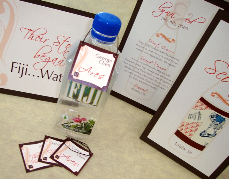 wedding reception escort, table, menu tent cards stationery