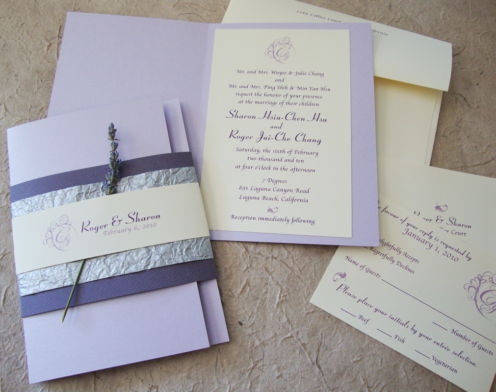 custom wedding invitation] lavender booklet suite – papercake designs