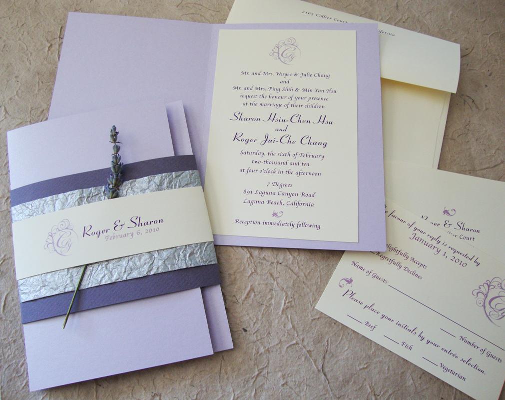 Custom Wedding Invitation Lavender Booklet Suite