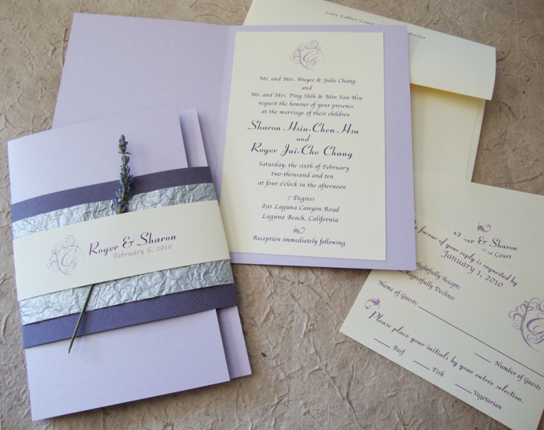 booklet wedding invitation with lavender