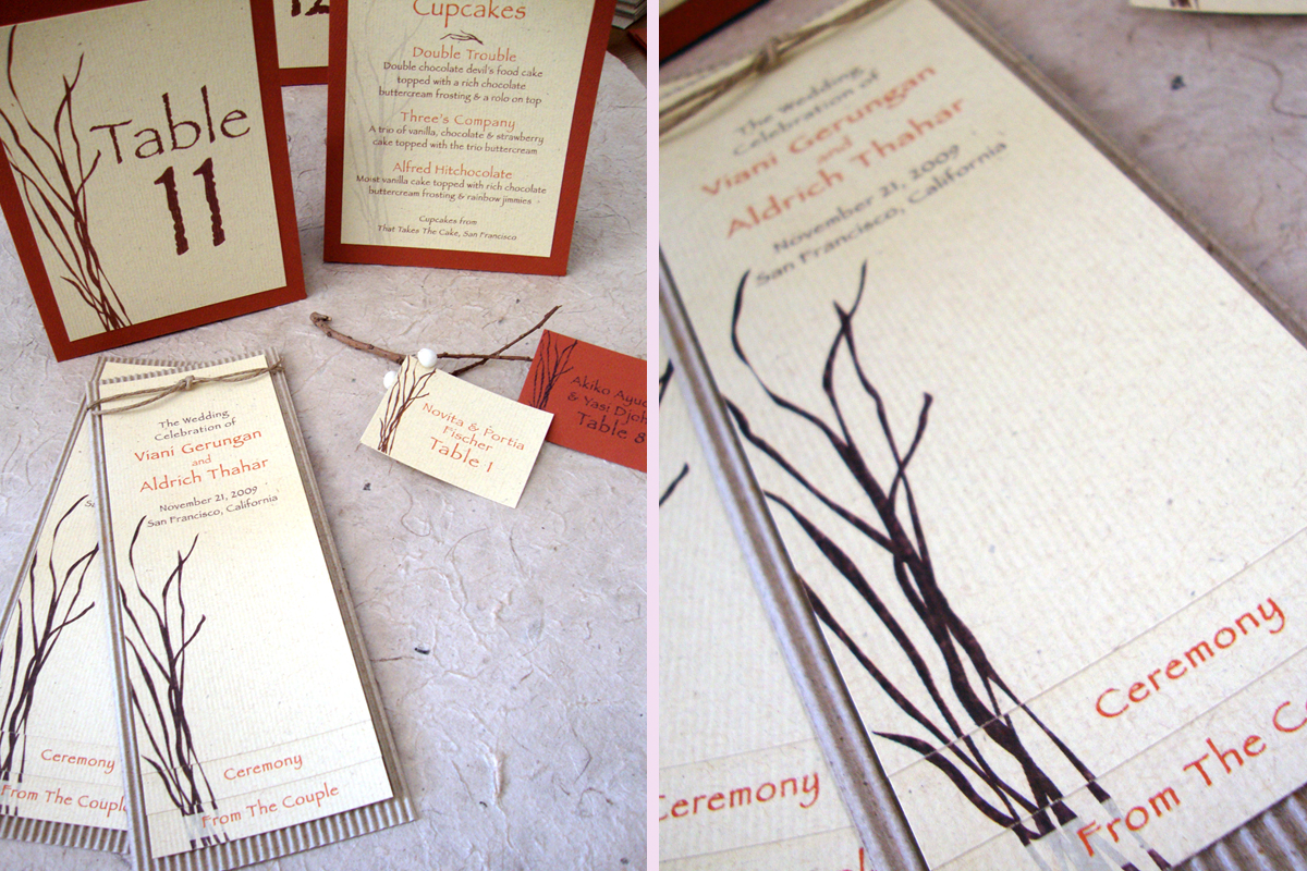 Wedding Program Ceremony Reception Stationery Branches Table Card