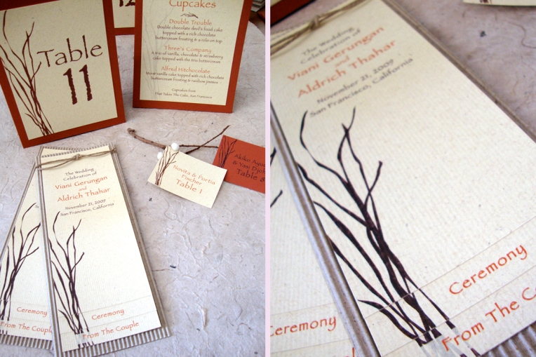 """wedding program"" ceremony ""reception stationery"" branches ""table card"""