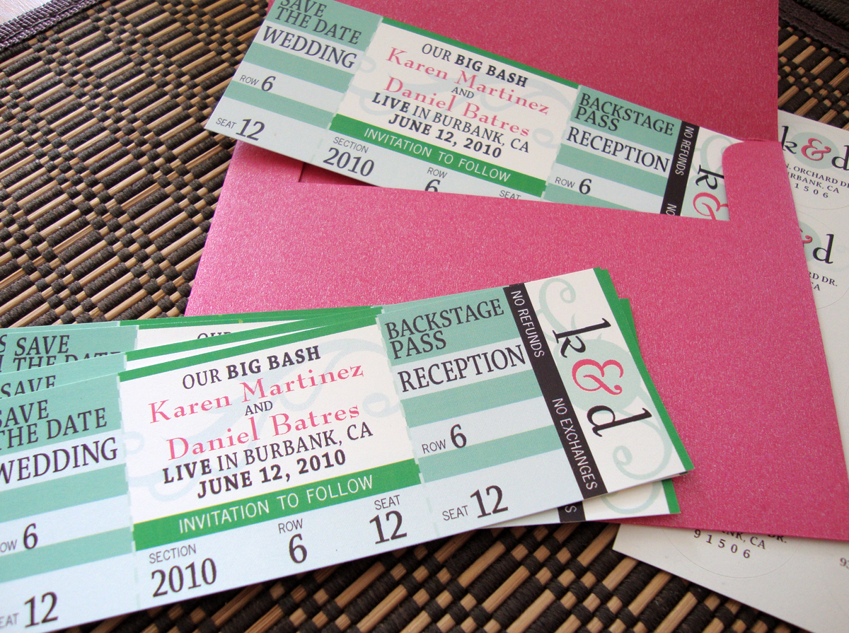Great Wedding Save The Date Concert Ticket  Invitations That Look Like Concert Tickets