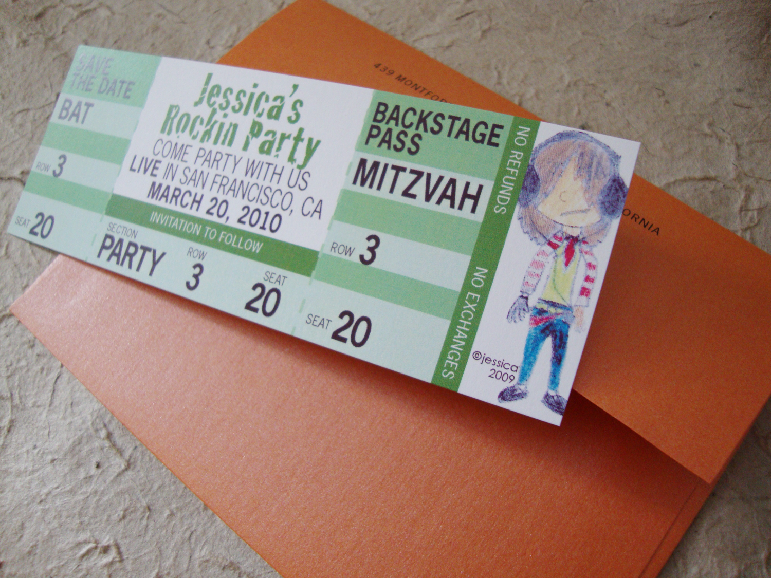 Bat Mitzvah Concert Save The Date Ticket. U003e  Concert Ticket Design