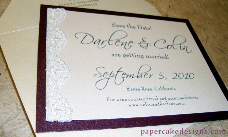 save the date card with lace