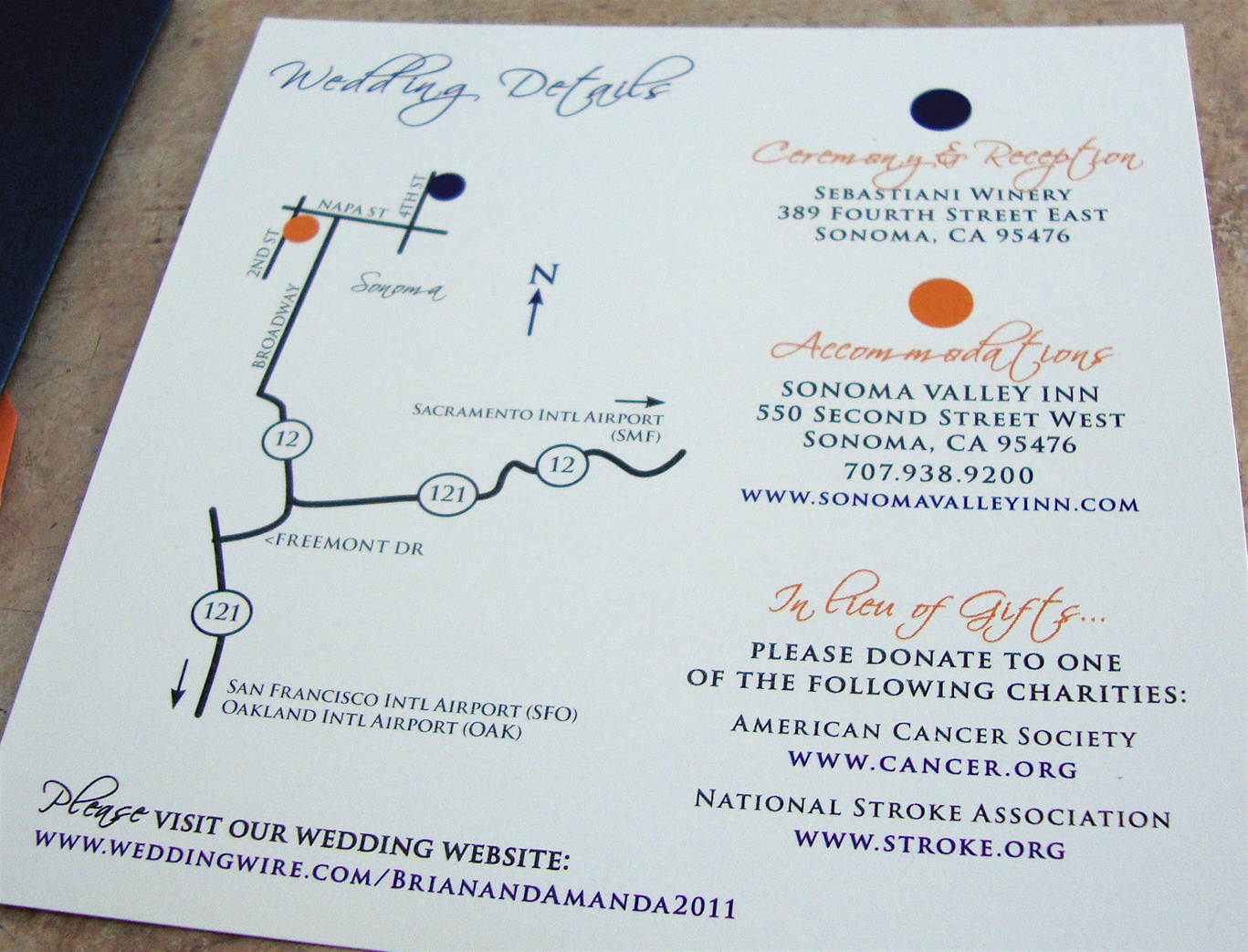 Sonoma Wedding Map