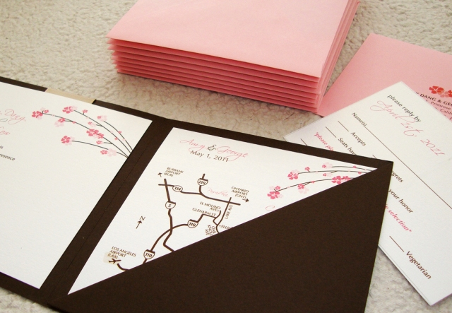 wedding map square enclosure card