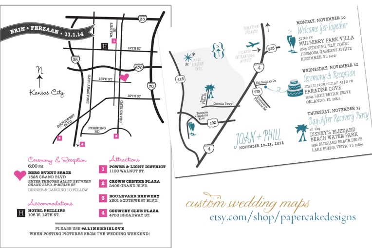Wedding Maps Papercake Designs