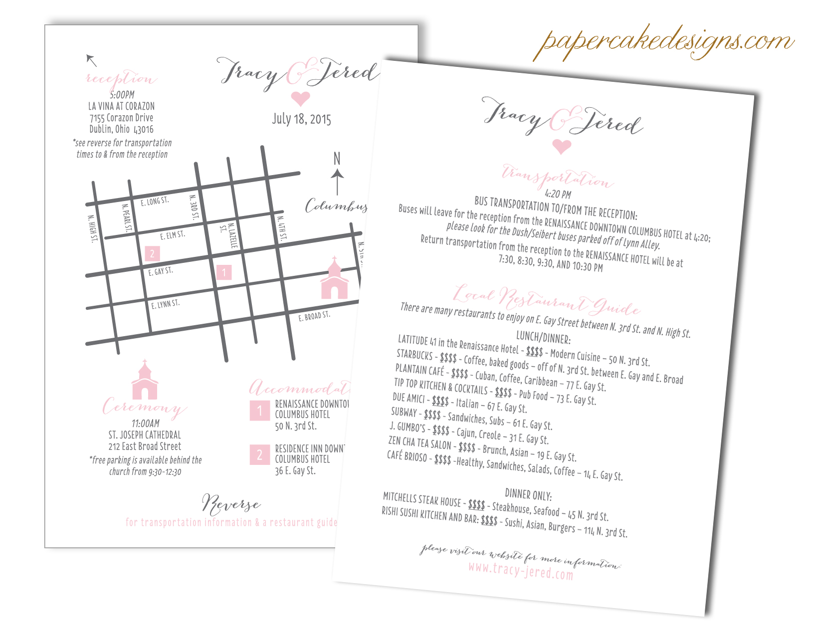 DIY wedding maps papercake designs