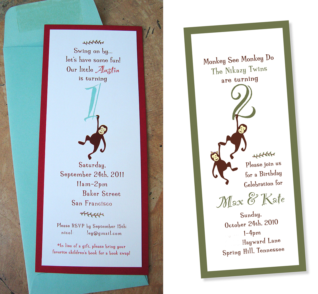 birthday or baby shower invites] monkey design – papercake designs