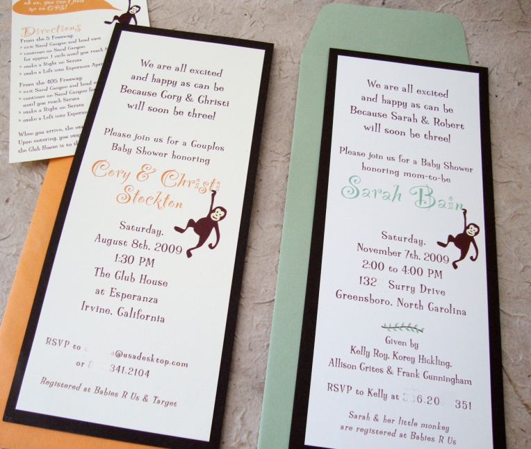 monkey baby shower invite