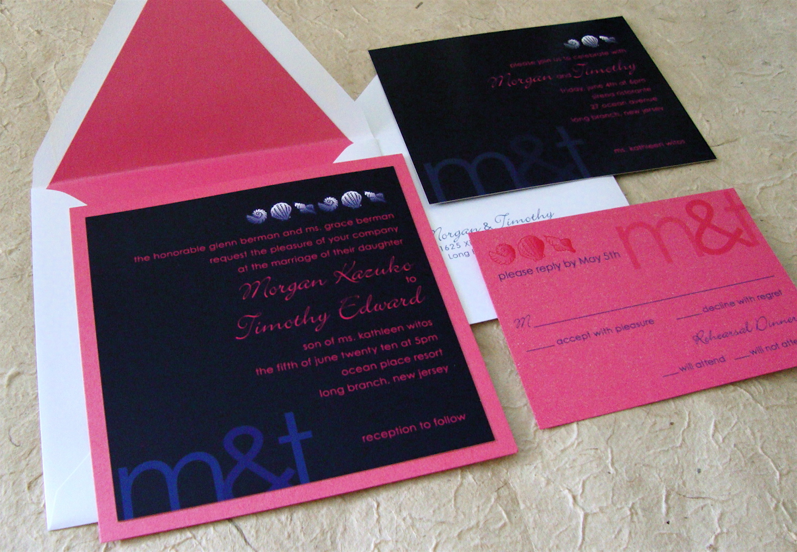 Pink And Navy Blue Wedding Invitations: 301 Moved Permanently