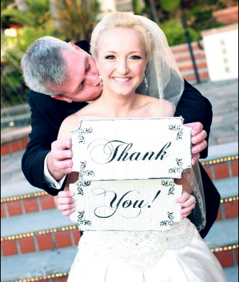 bride & groom thank you signs