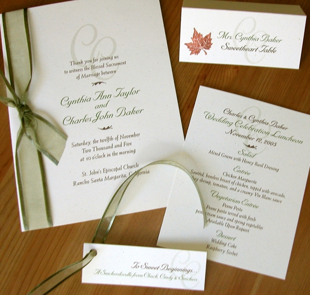 wedding program, escort, menu & favor tag