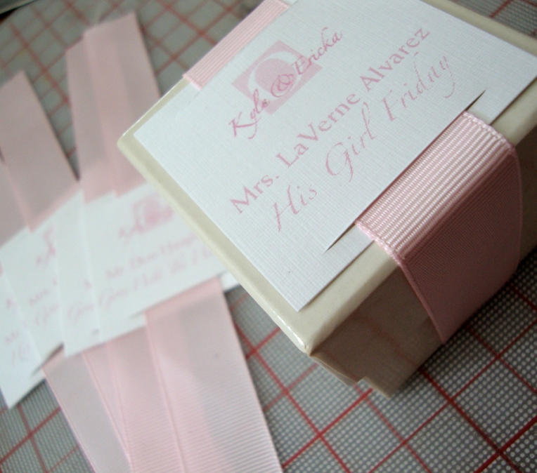 wedding place card with edible favor