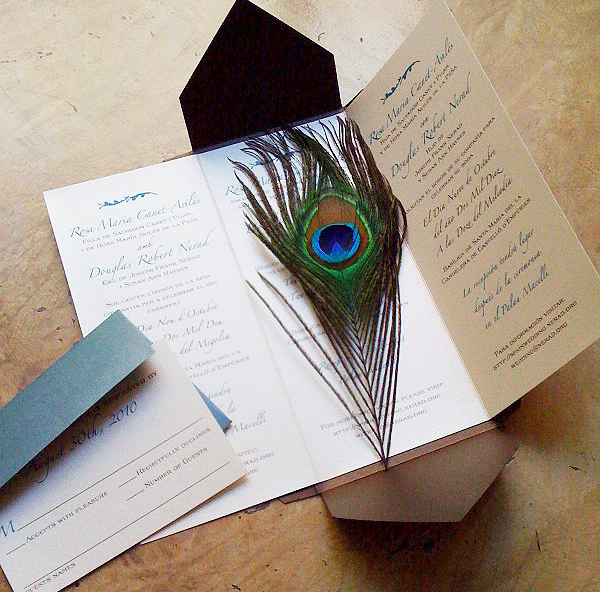 peacock feather wedding invitation tri-fold