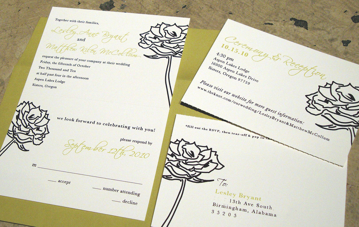 wedding invitation] tear-off RSVP postcard – papercake designs
