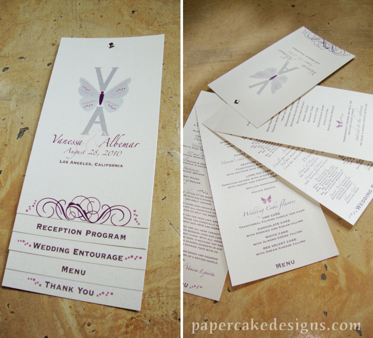 wedding program cards with brad