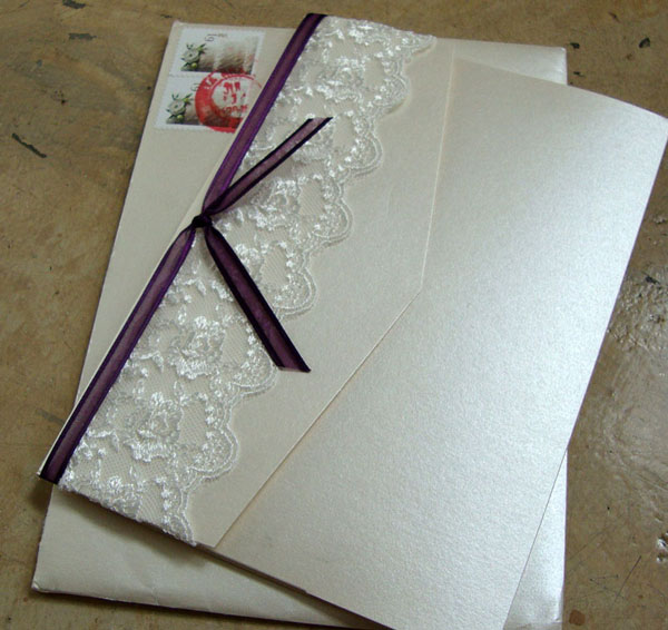 custom wedding invitation] pocket folder with lace – papercake designs, Wedding invitations