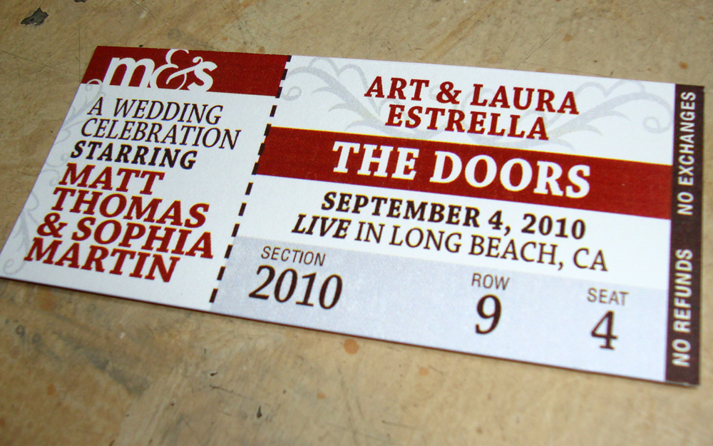 Wedding Reception Escort Card Concert Ticket  Concert Ticket Design