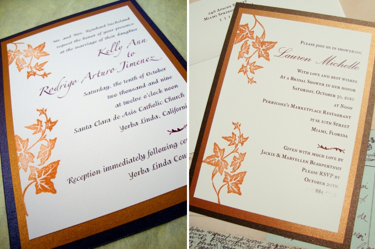 fall leaves wedding bridal shower invites