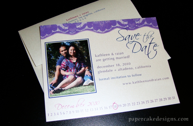 photo lace save the date card envelope