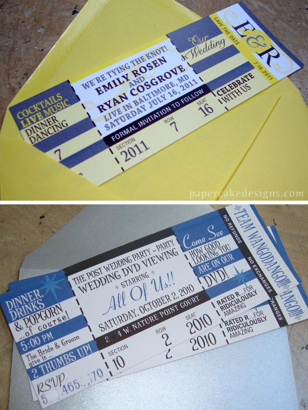 design update custom invites tickets papercake designs – Concert Ticket Invitations