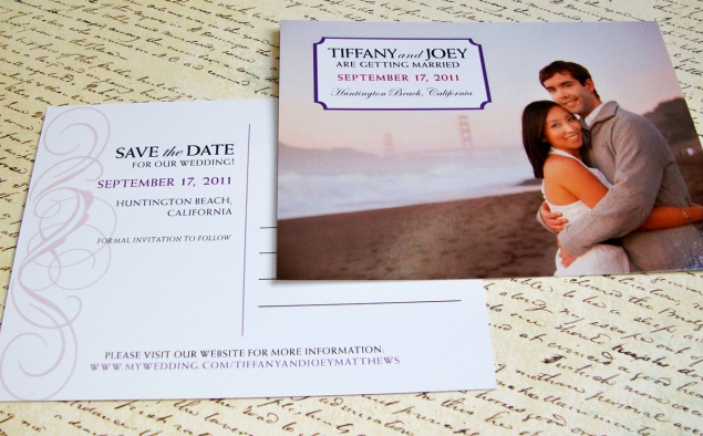 save the date postcard with photo