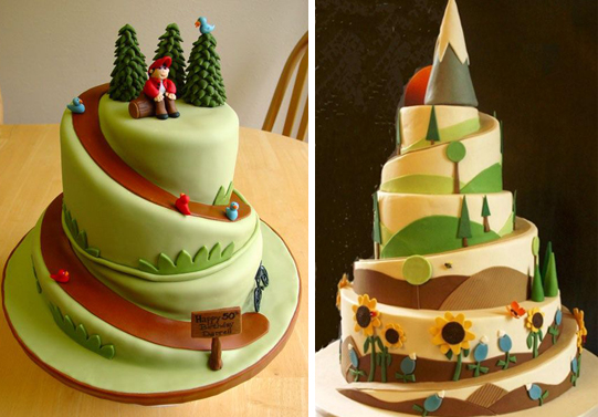 hiking wedding cakes