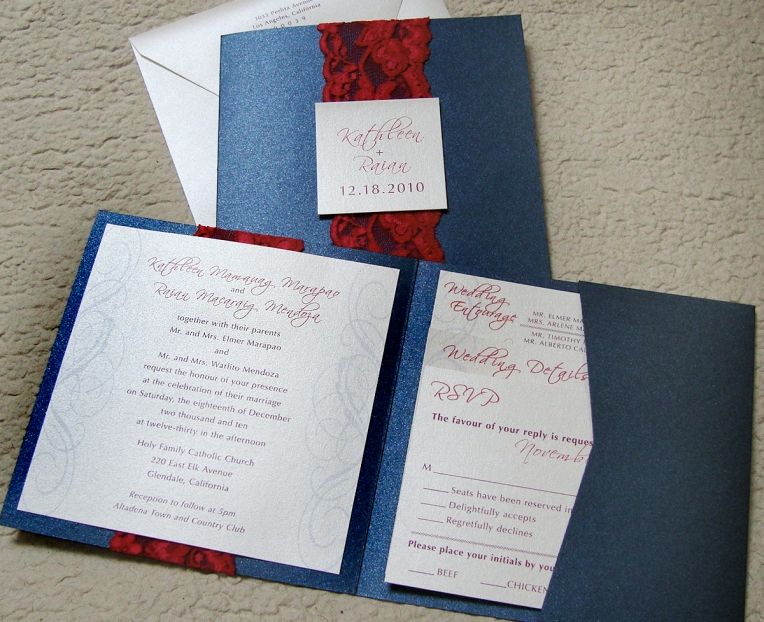 square pocket wedding Invitation