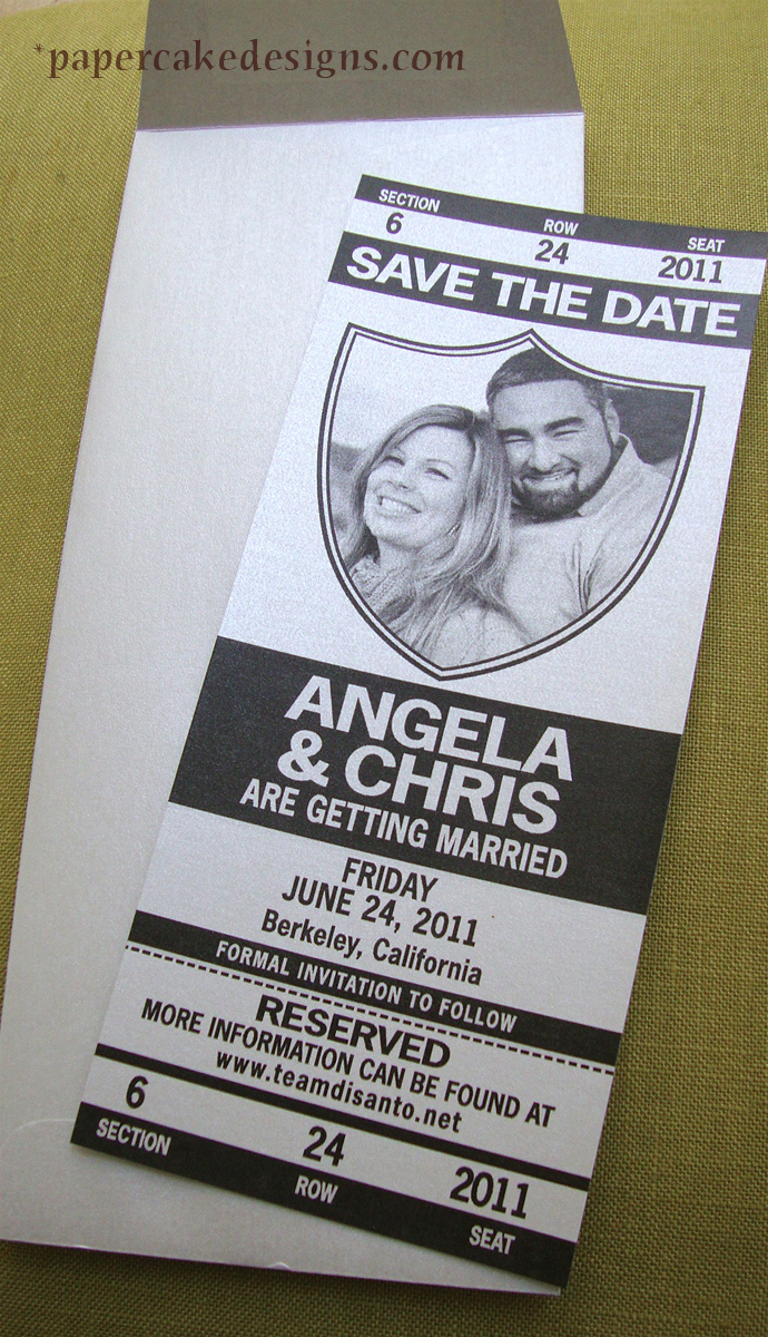 save the date football wedding tickets papercake designs