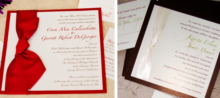square invitations with ribbon knot