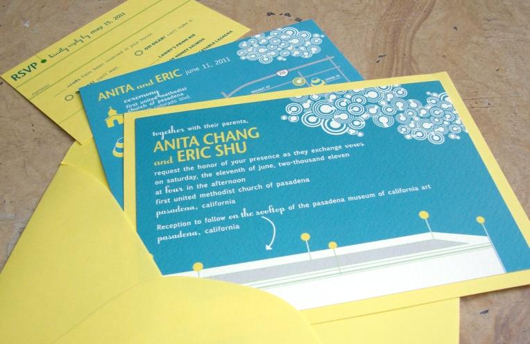 yellow & peacock blue invitations