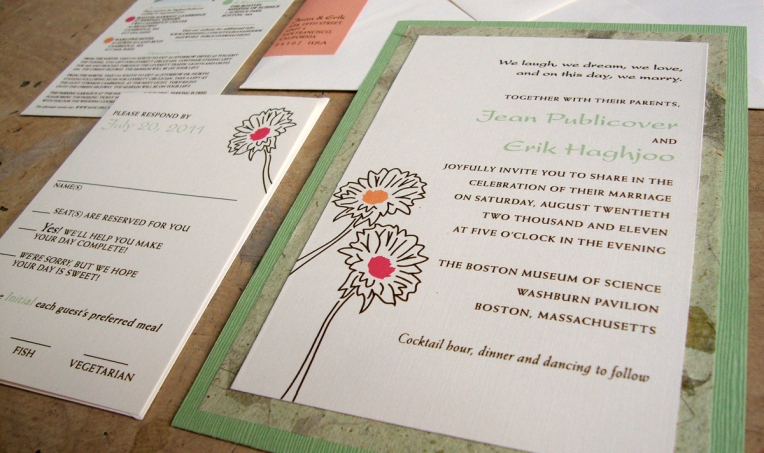 green & pink floral invitations