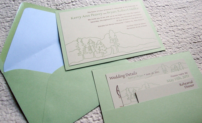 wedding invitation pocket on the back with envelope liner