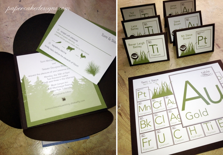 Wedding Reception Periodic table cards