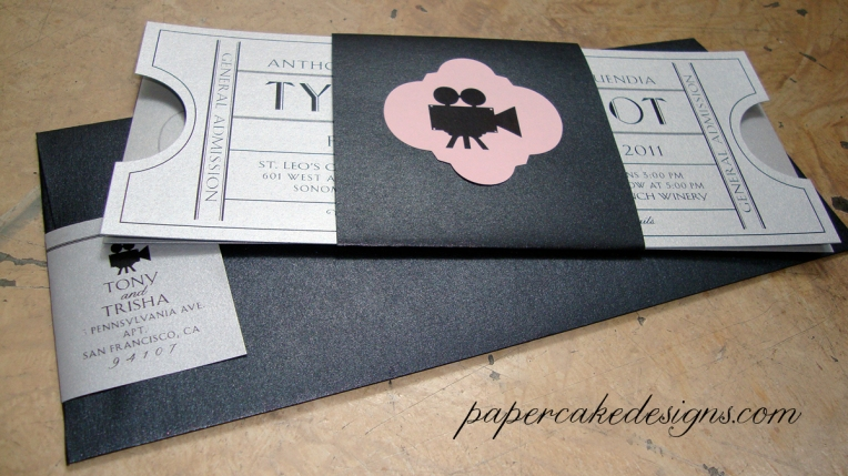 vintage cinema wedding invitations