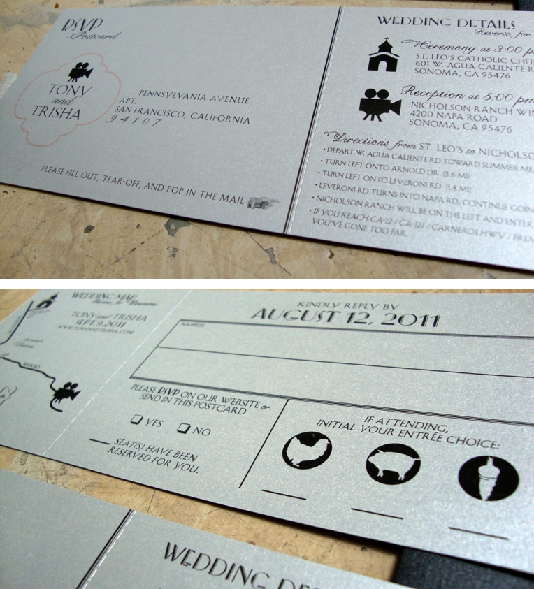 wedding RSVP tear-off posctard