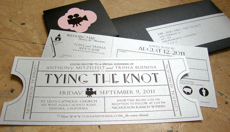 vintage cinema wedding invite