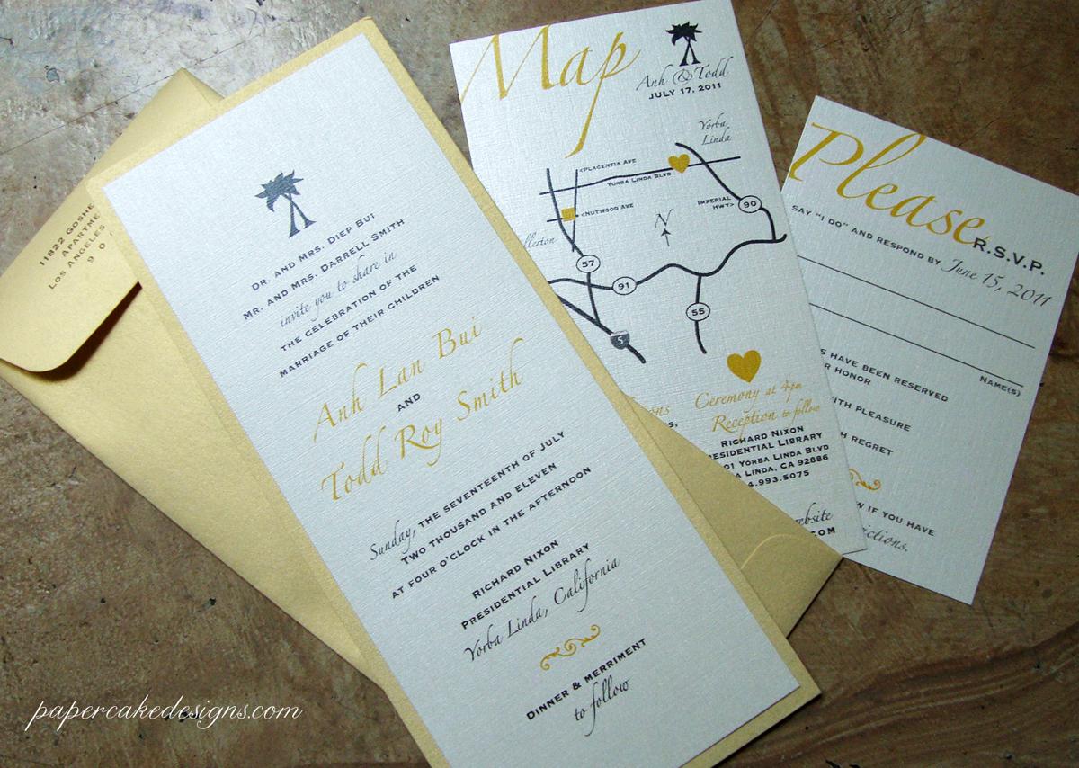 custom wedding invitation] tea-length metallic golds – papercake designs
