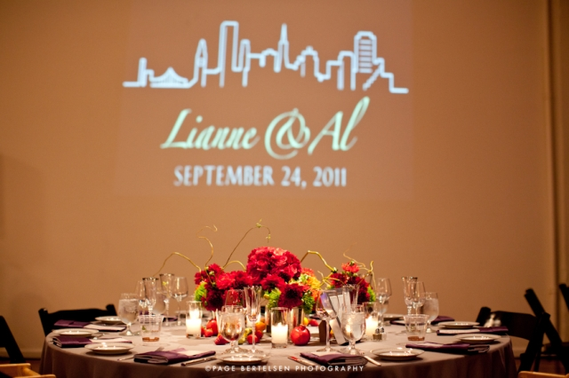 wedding monogram in lights / san francisco city skyline