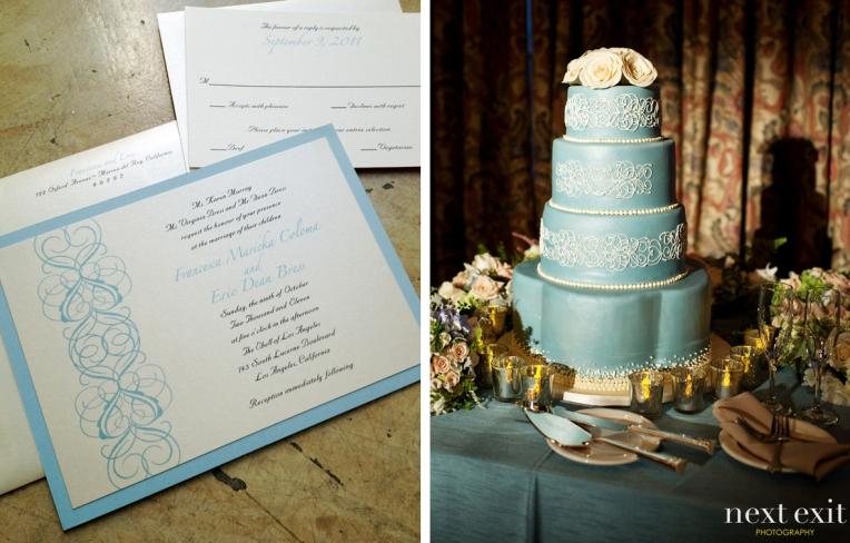 wedding invitation styled with cake
