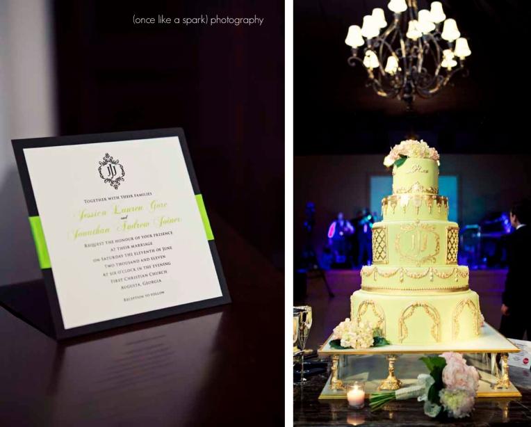 wedding invitation monogram with cake