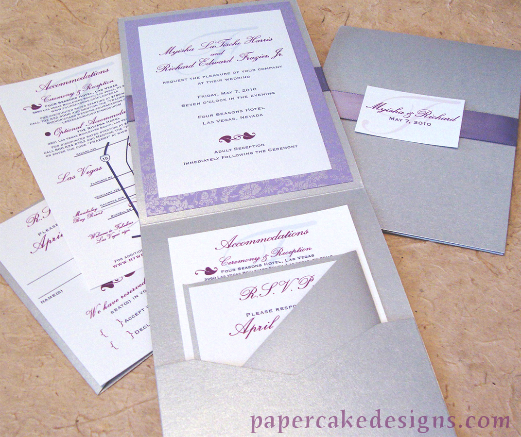 custom wedding invitations] vertical folded card + ribbon sash ...