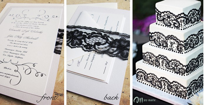 wedding invitation Lace and cake