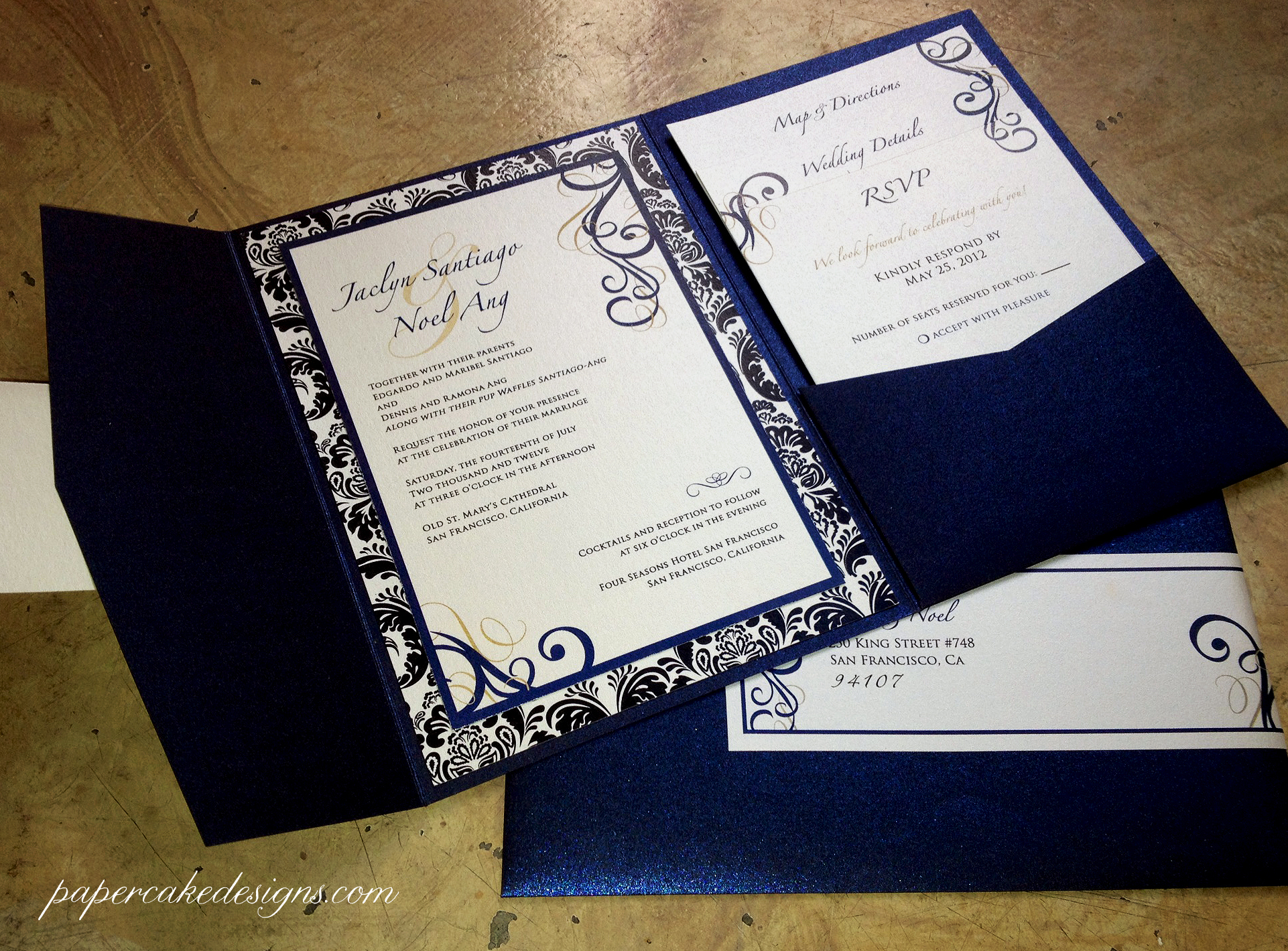 Colorful Wedding Invite Folders Ensign Invitation Card