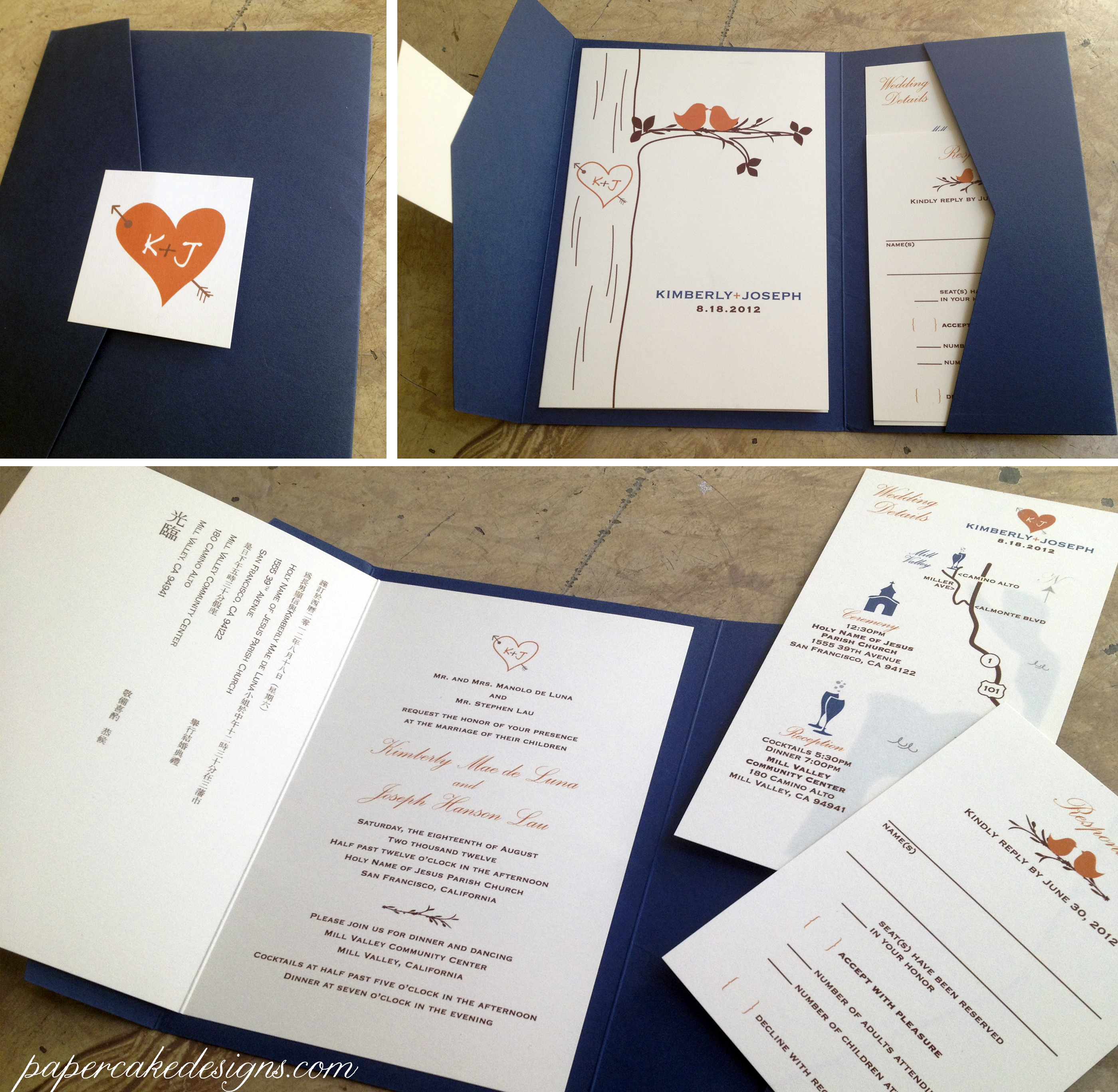 designed monogram including cover design bilingual invite booklet