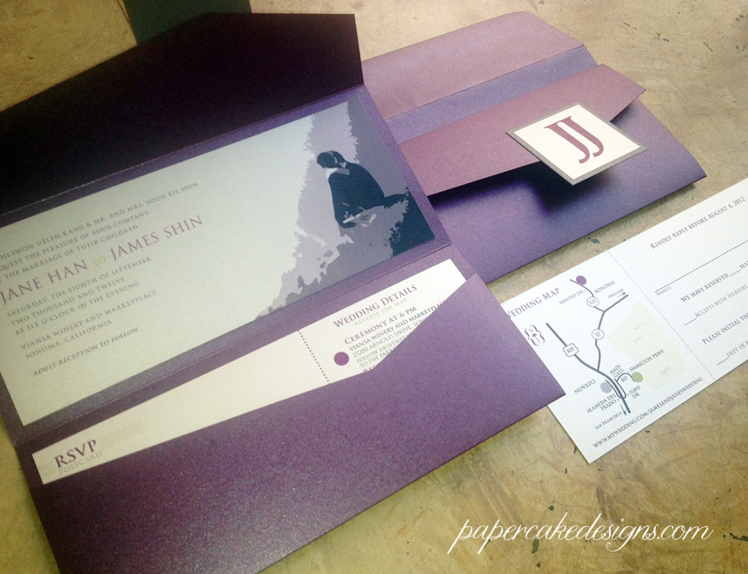Jane & james wedding pocket folder invites