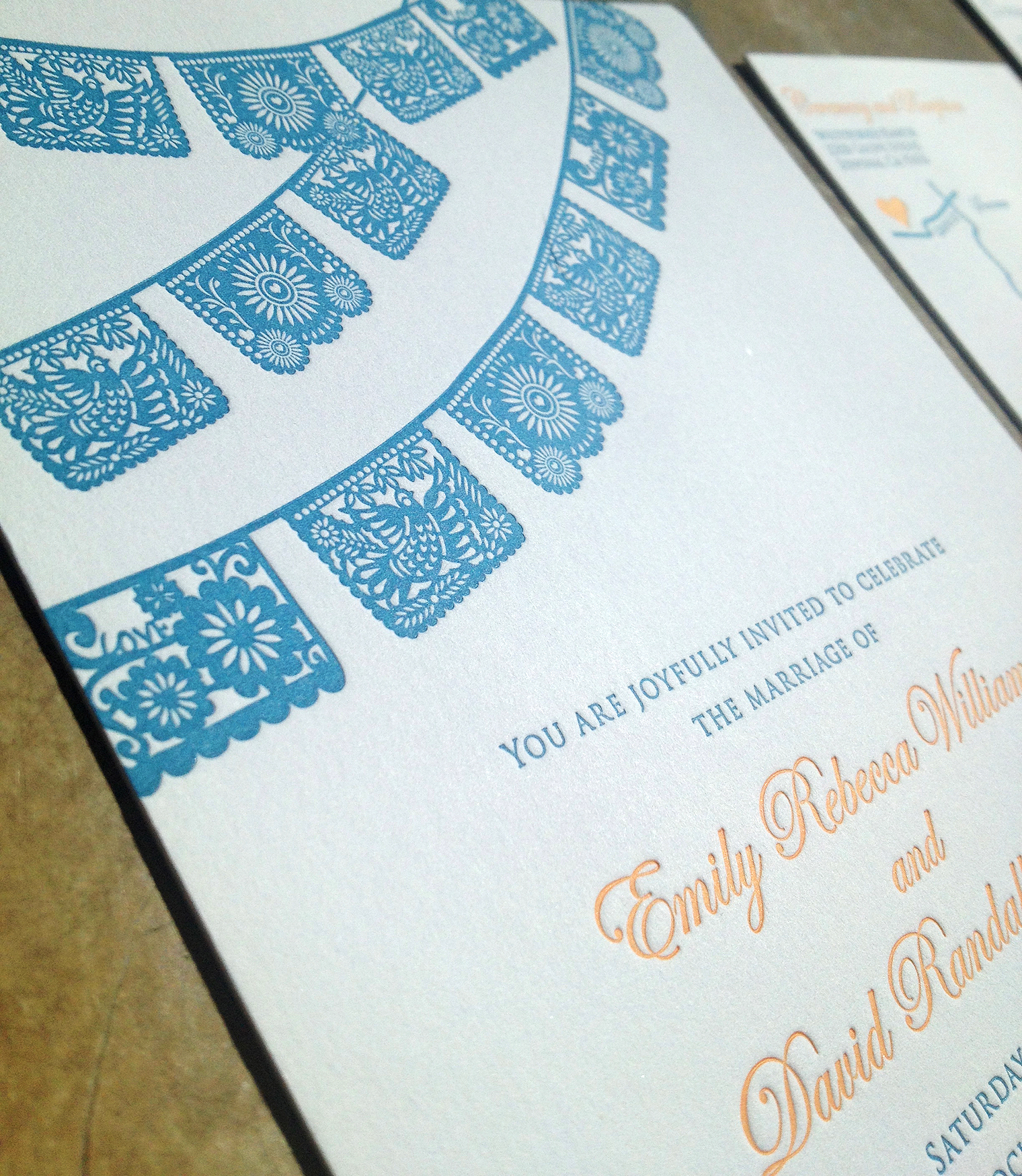 custom design papel picado letterpress wedding invitation suite